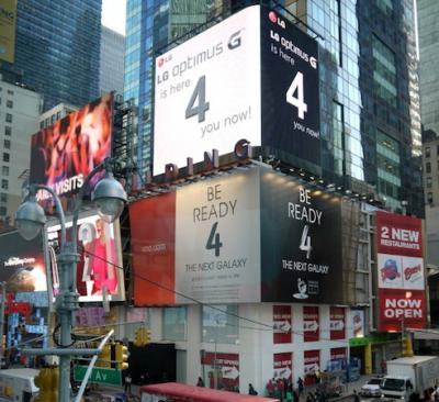 """LG Optimus G is here '4' you now"" Ad on Samsung Galaxy S IV Billboard in Times Square"