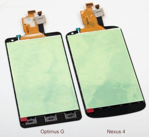 Comparison between LG Nexus 4 LCD assembly and LG Optimus G LCD assembly