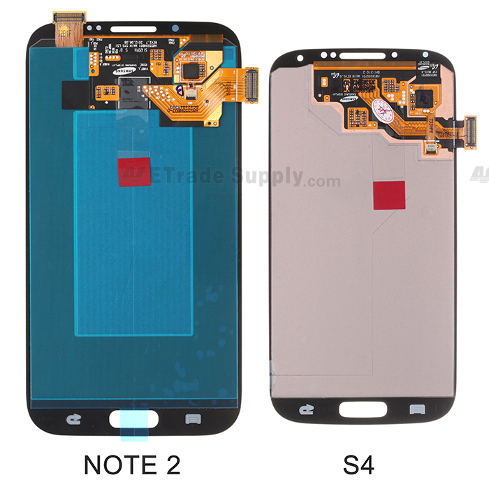 Galaxy S4 LCD display assembly and Galaxy Note II LCD display assembly back side comparison