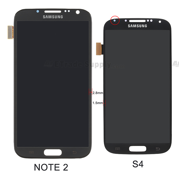 Galaxy S4 LCD assembly and Galaxy Note II LCD assembly front side comparison