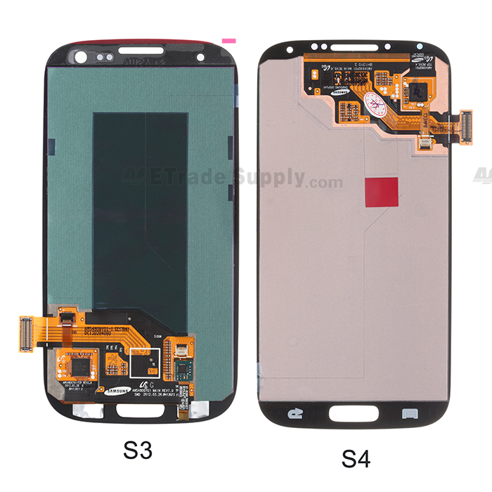 Galaxy S4 LCD display assembly and Galaxy S3 LCD display assembly back side comparison