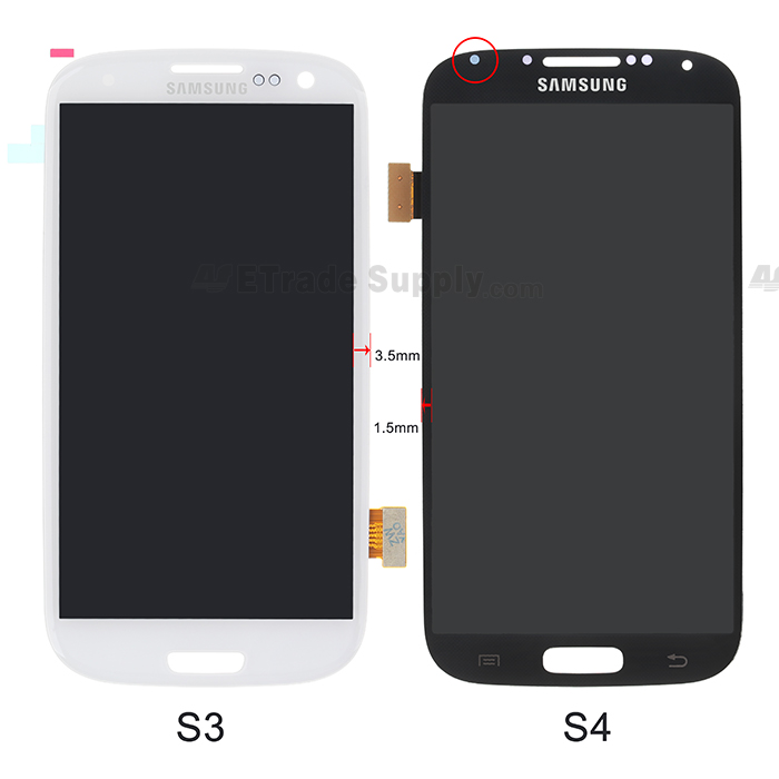 Galaxy S4 LCD display assembly and Galaxy S3 LCD display assembly front side comparison