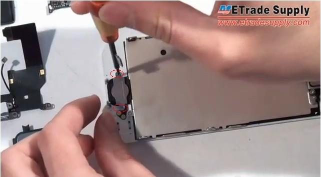 remove 2 screws of home button