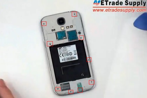 to release the 9 screws on the galaxy s4 rear housing.