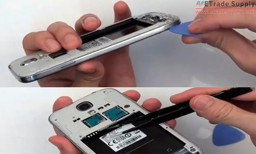 release the clips around the edge and inside the galaxy s4 battery compartment