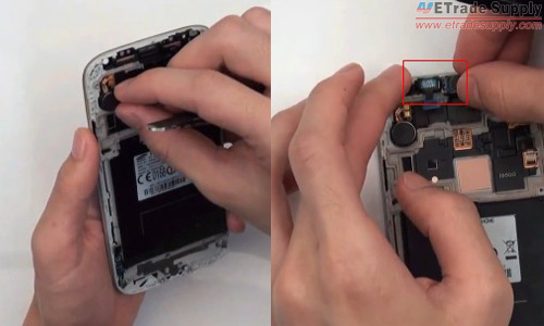 Install the galaxy s4 vibrating motor, ear phone and proximity sensor cable back