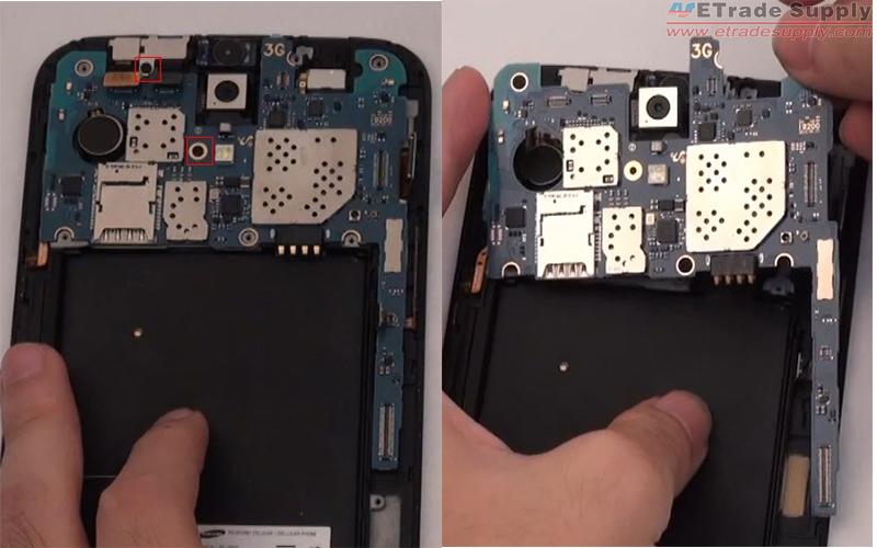 Undo 2 screws to remove the Galaxy Mega 6.3 motherboard