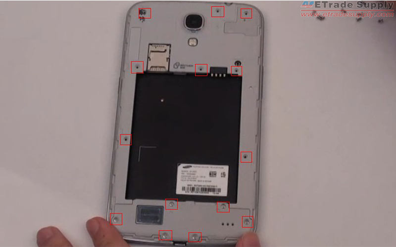 Use Small Philips Screwdriver to remove 14 screws on the Galaxy Mega 6.3 rear housing