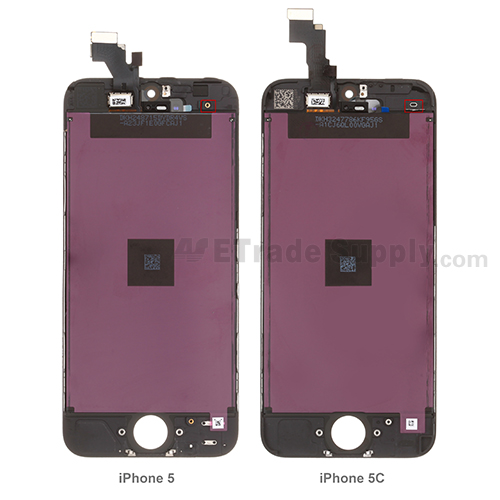 iPhone 5 vs iPhone 5c lcd assembly back side