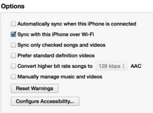 Enable iTunes to sync the video purchases