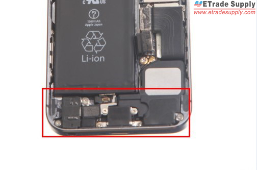 assemble the charging port and loud speaker, fasten with 7 screws