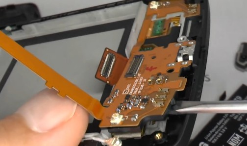 lift up the charging port flex cable