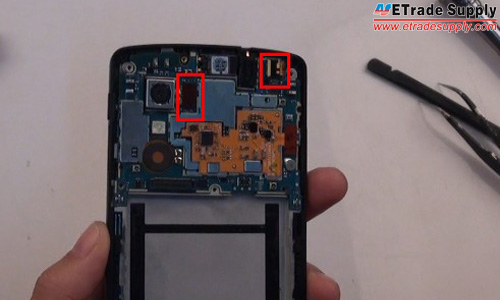 disconnect the rear facing camera and front facing camera connectors