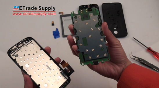 Moto G LCD screen and digitizer assembly with front housing is removed