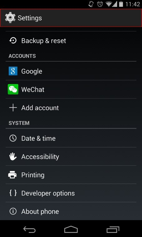 Android Develop Option Sectioin - Settings