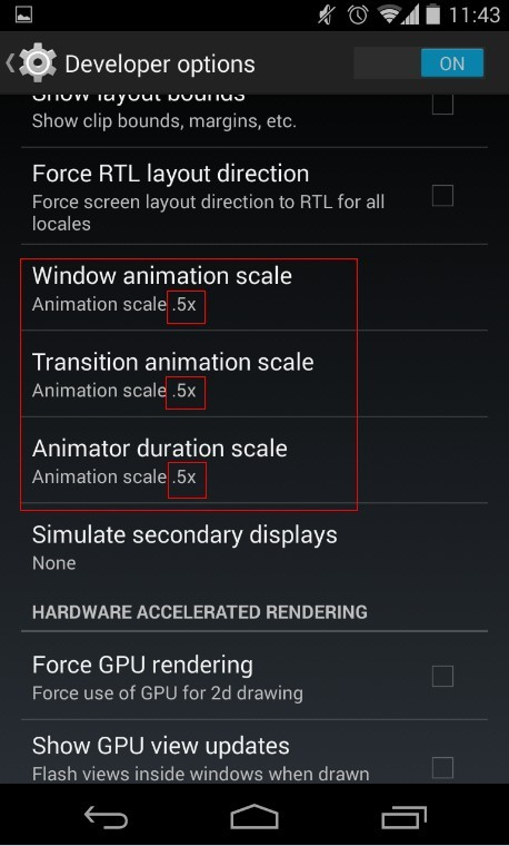 Android devices transitions