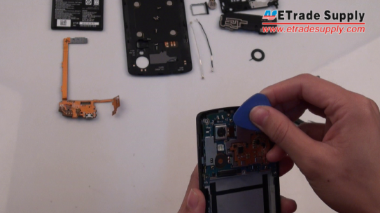 disconnect the rear-facing camera connector on Nexus 5