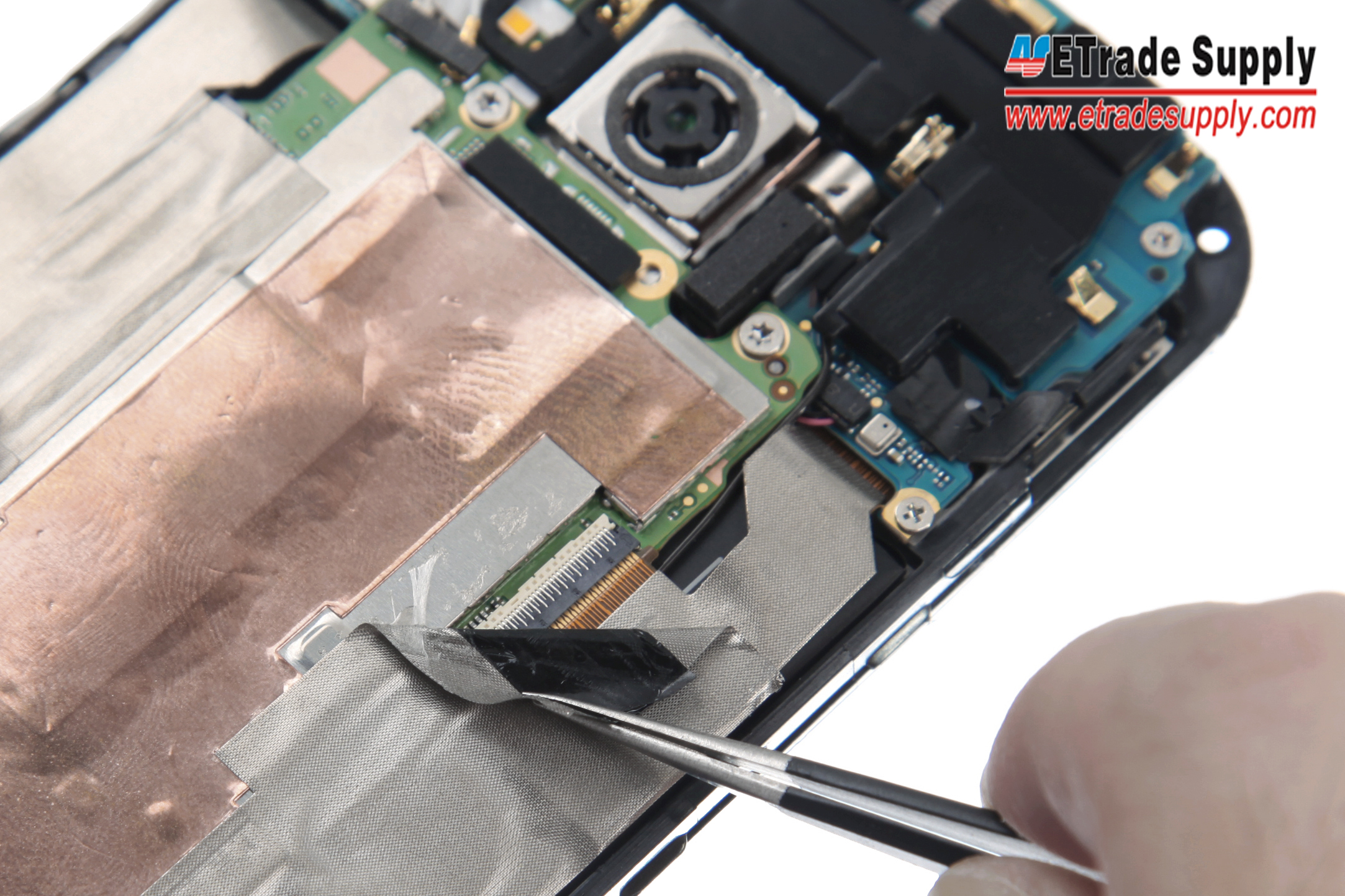 Htc One M8 Disassembly Take Apart Tear Down Tutorial Etrade Supply X Circuit Diagram Peel Off The Tapes With Tweezers