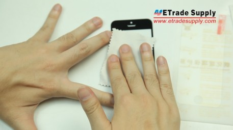 Use micro fiber cloth to wipe the iPhone display