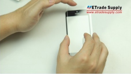 align the edges of the iPhone 5, 5c and 5s display