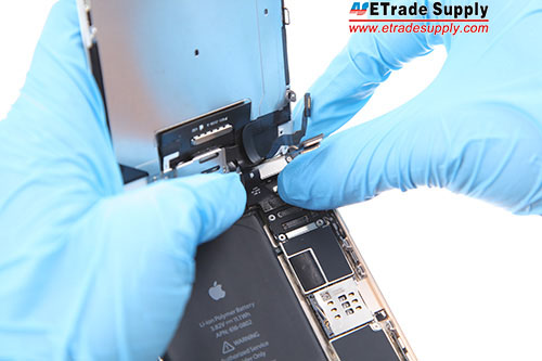 Assemble the LCD screen and digitizer assembly with the logic board and connect the flex cables .