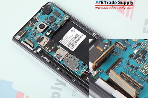 11._1 Connect the front facing camera flex cable, proximity sensor flex cable, digitizer flex cable to the mother board.