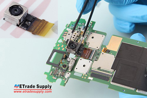 2.1Connect the rear facing camera flex cable to the mother board