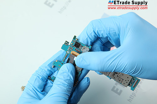 3. Connect the rear facing camera flex cable to the mother board.