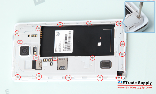 Note 4 Rear Housing Screw Off
