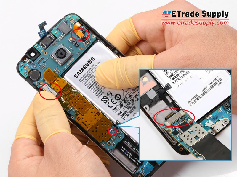 Disconnect the Galaxy S6 LCD screen and digitizer, battery, ear speaker, and home button flex cable connectors..jpg