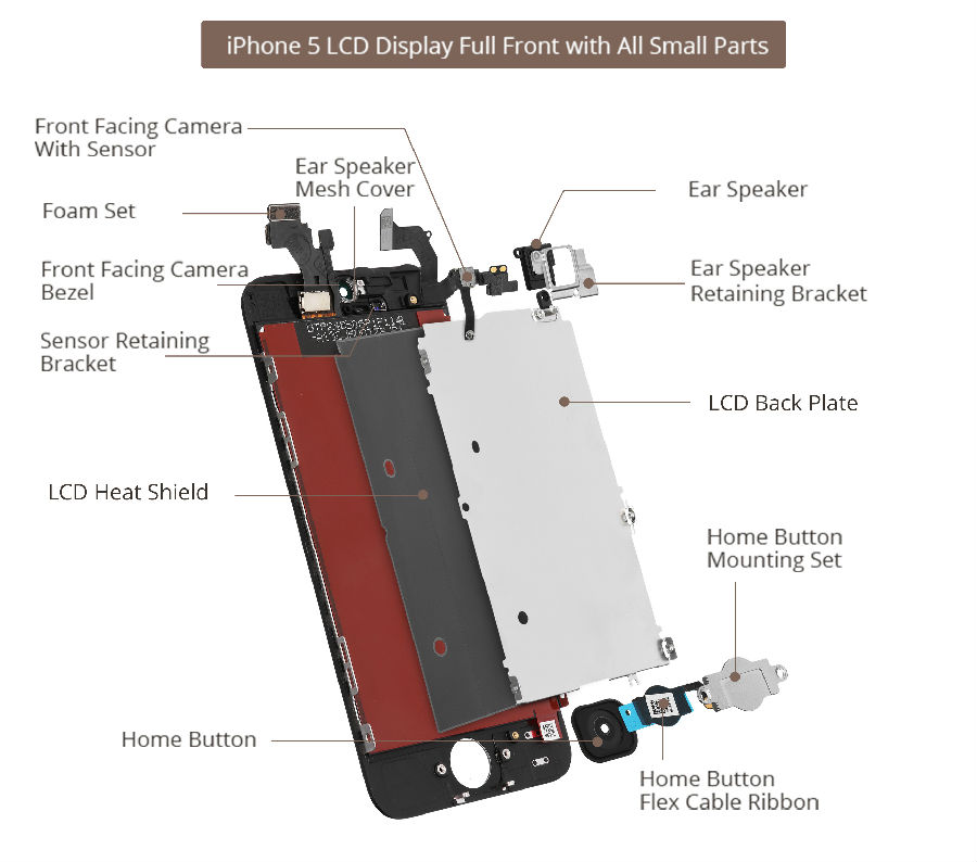 Monitor Replacement Parts : Iphone lcd screen assembly small parts list