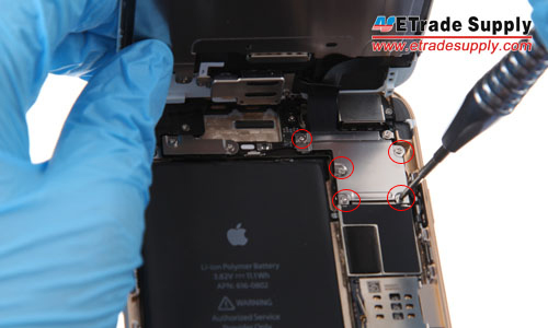 Undo 5 screws holding the iPhone 6 plus metal cover