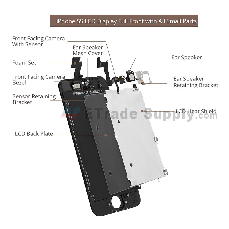 iPhone 5S LCD screen assembly without home button