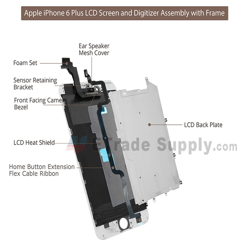 Apple iPhone 6 Plus LCD and Digitizer Assembly with Frame Black ...