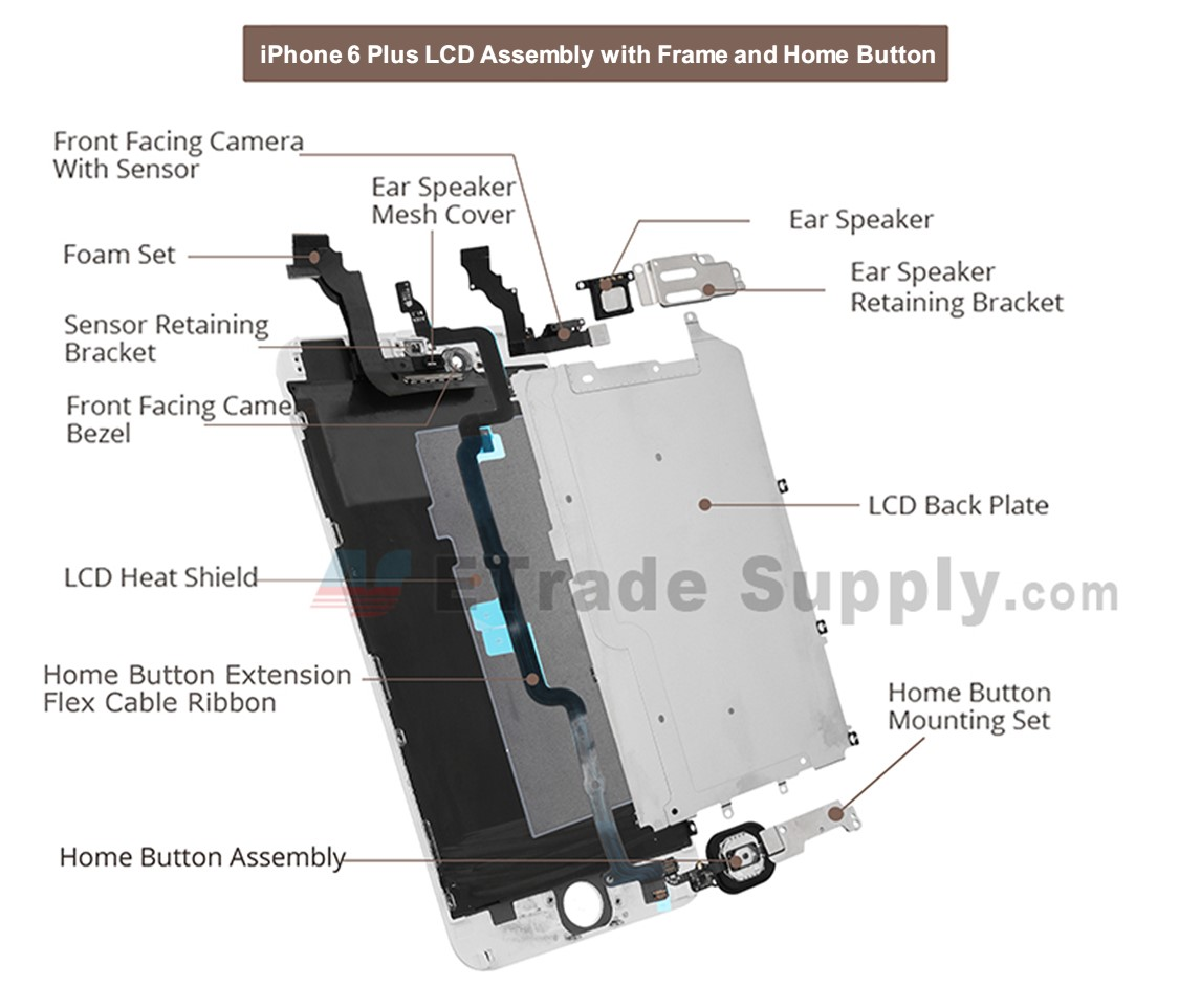 For apple iphone 6 plus lcd screen and digitizer assembly with frame
