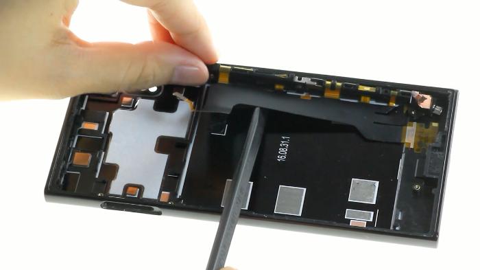 43.remove power button flex cable