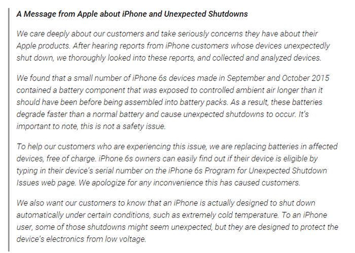 IPHONE 6S SHUTDOWN STATMENT
