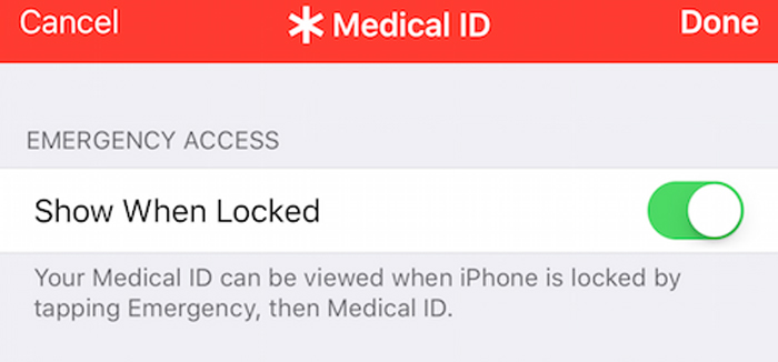 filling out important health information in your health app prior to an emergency