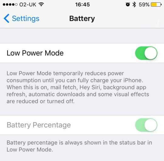 iPhone X low battery mode