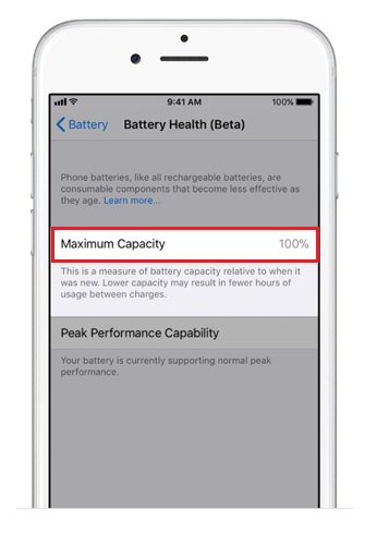 iOS battery health 100%