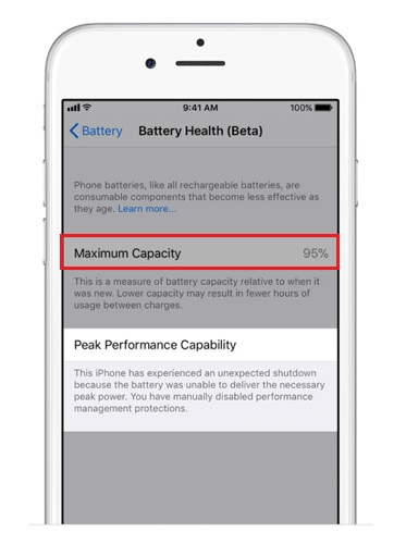 iPhone battery health normal