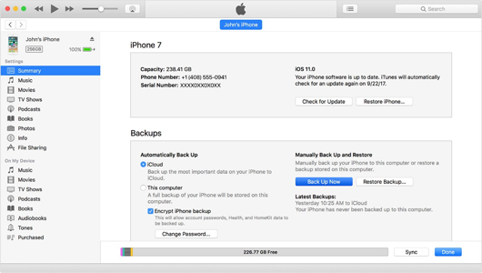 Backup iPhone with iTunes