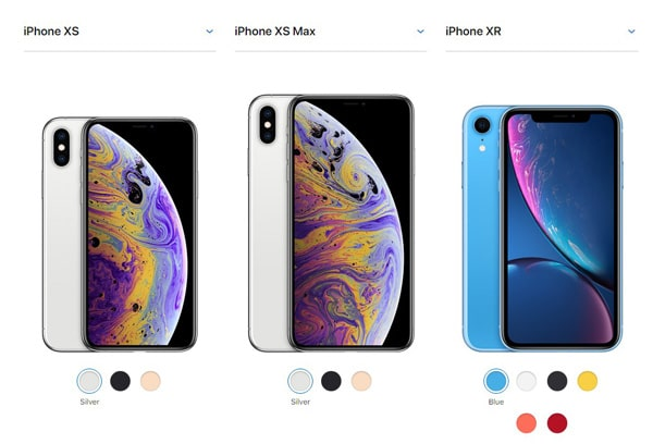 iPhone XS, XS Max, and XR colors