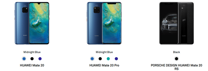 Huawei Mate 20, Mate 20 Pro, Mate 20 RS images