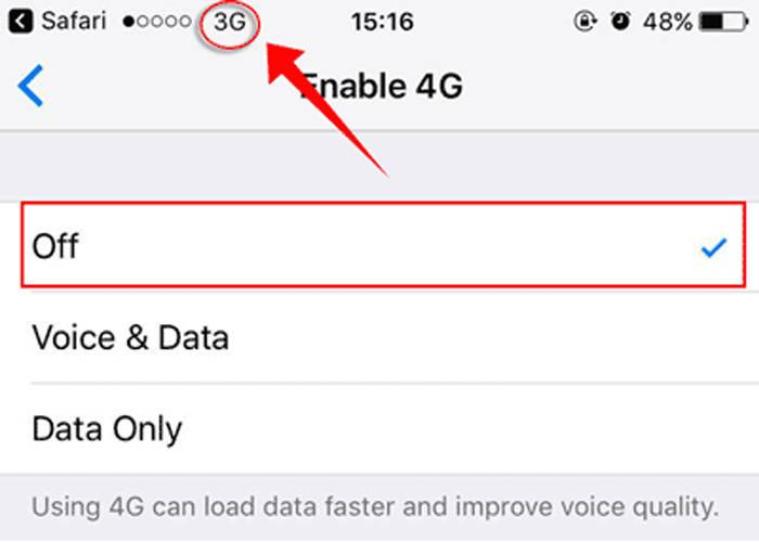 1. switch to 4G