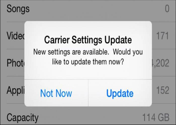 carrier setting popup