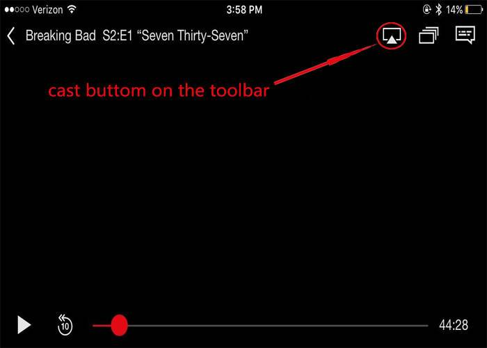 cast buttom on the toolbar