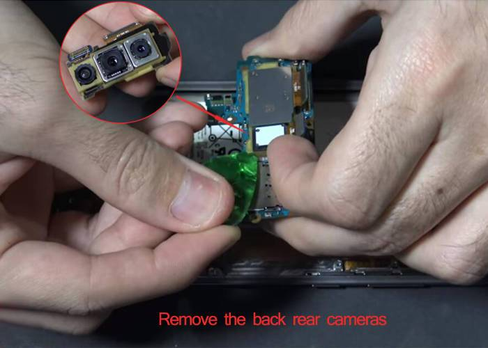 remove the Samsung S10 rear facing cameras