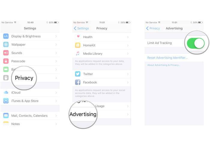 iPhone Limit Ad Tracking setting