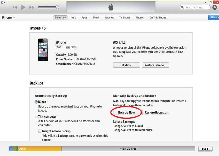 Réinitialisation d'usine et restauration de l'iPhone via iTunes